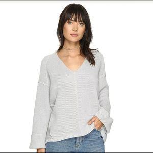 Free People Gray La Brea V-Neck Sweater Oversize